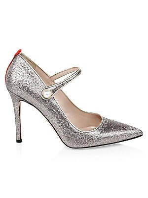 """Image of A glitter finish with a stiletto heel transforms the Mary Jane silhouette Self-covered heel, 4"""" (100mm) Glitter upper Point toe Faux pearl snap closure Leather lining and sole Made in Italy. Women's Shoes - Contemporary Womens Shoe. SJP by Sarah Jessica P"""