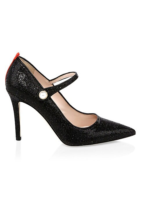 """Image of EXCLUSIVELY AT SAKS.COM.Sparkly Mary Jane heels with faux pearl detailing. Self-covered heel, 4"""" (100mm).Scintillate upper. Point toe. Faux pearl snap closure. Leather lining and sole. Made in Italy."""