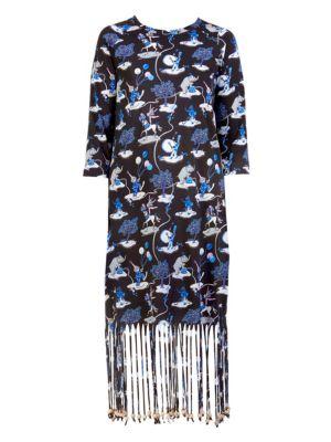 X Paula'S Ibiza Circus Fringe Dress, Black White