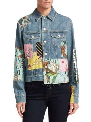 Paula'S Ibiza Sequined Patchwork Denim Jacket, Indigo Multi