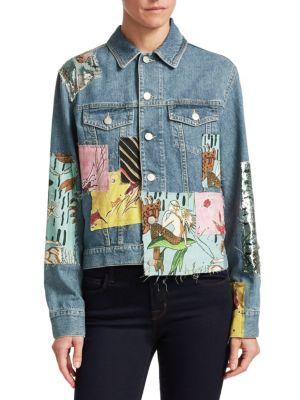 + Paula'S Ibiza Sequined Patchwork Denim Jacket in 5824 Indigo