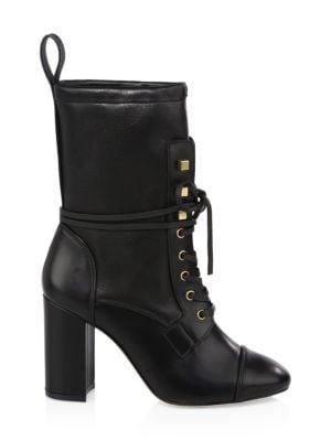 Women'S Veruka Stretch Leather Lace Up Combat Booties, Black