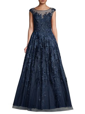 BASIX BLACK LABEL Floral Floor-Length Gown in Navy