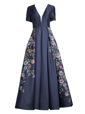 cce694a81100 Basix Black Label Short Sleeve Navy Blue Hand Painted Floral Ball Gown