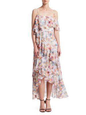 ML MONIQUE LHUILLIER Dresses Floral Chiffon High-Low Dress