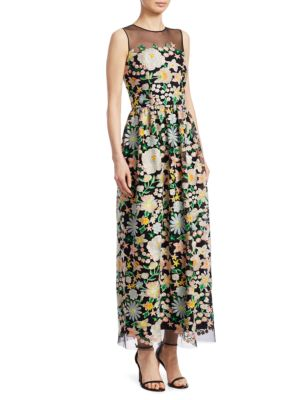 Floral Embroidery Cocktail Dress by Ml Monique Lhuillier