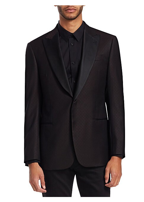 Image of From the Saks IT LIST. THE JACKET. The wear everywhere layer that instantly dresses you up. Sophisticated wool dinner jacket with silk lapels and subtle diamond-weave pattern. Peak lapels with buttonhole. Long sleeves. Button cuffs. Button front closure.