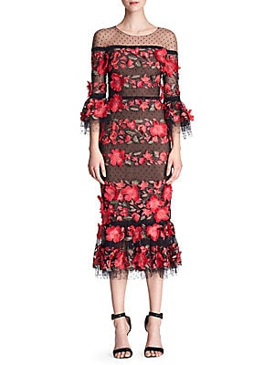 c689b3d747fa2 Marchesa Notte - Quarter-Sleeve Floral Embroidered Cocktail Dress - saks.com