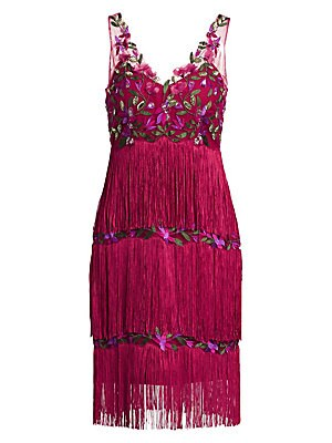 2f55c144 Marchesa Notte - Embroidered Mesh Fringe Shift Dress - saks.com