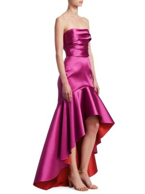 Strapless Two-Tone High-Low Gown in Pink