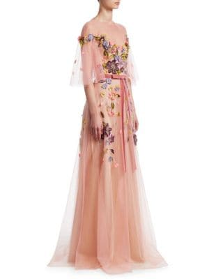 Floral Belted Gown by Marchesa Notte