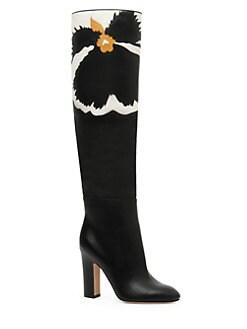 f7963f7c76b Valentino Garavani. Bloom Leather Knee-High Boots