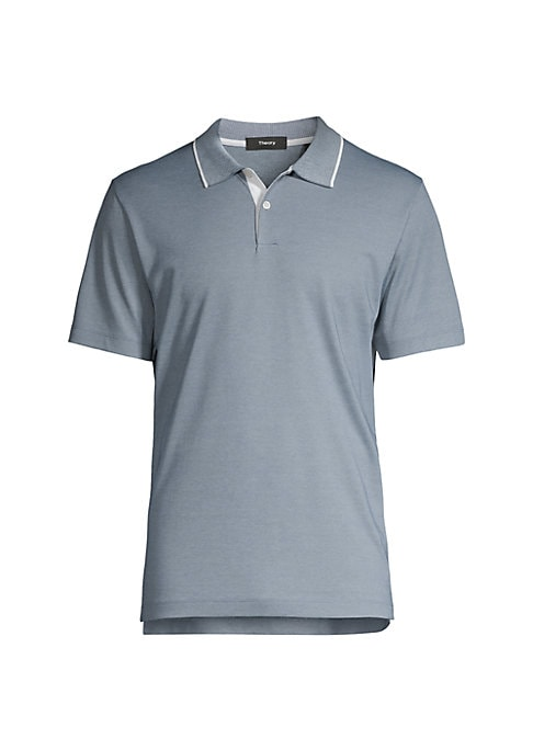 """Image of Casual cotton polo finished with contrasting trim. Polo collar. Short sleeves. Two-button placket. About 27"""" from shoulder to hem. Cotton. Dry clean. Imported."""