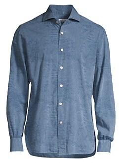 84fc5d4c42 Kiton. Chambray Floral Cotton Sportshirt