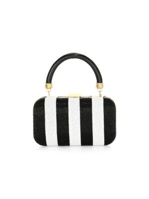 Alice And Olivia Shirley Embellished Stripe Clutch
