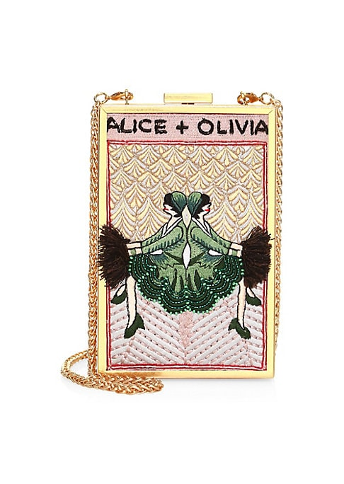 """Image of Convertible clutch enhanced with vintage imagery hailing from the 30s.Top clasp closure. Goldtone hardware. Interior slip pocket. Cotton lining. Polyester thread/glass beads. Imported. SIZE. Removable chain shoulder strap, 19.5"""" drop.4.5""""W x 6.75""""H x 1.5"""""""