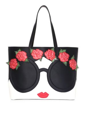 Missy Embellished Face & Flowers Tote by Alice + Olivia