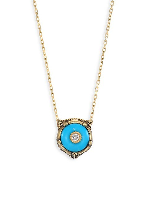 Le Marche Des Merveilles 18K Yellow Gold Feline Head Turquoise & Diamond Pendant Necklace