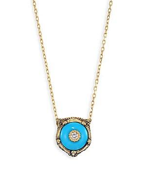 50c4993c7 Gucci - Le Marche Des Merveilles 18K Yellow Gold Feline Head Turquoise & Diamond  Pendant Necklace - saks.com