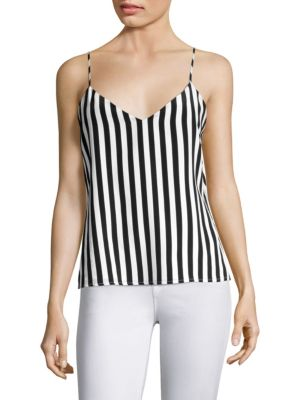 Jane Striped Silk Crêpe De Chine Cami, Black White
