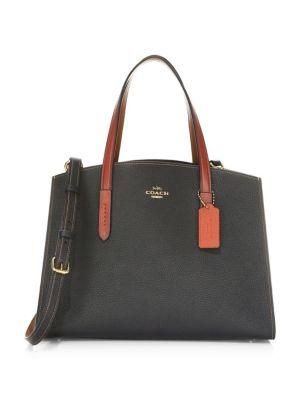 Charlie Colorblock Exotic Carryall Tote Bag, Black