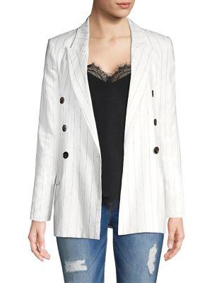 Brea Pinstripe Linen Blazer by L'agence