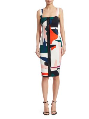 Zip-Front Sleeveless Expressionist-Print Sheath Dress in White
