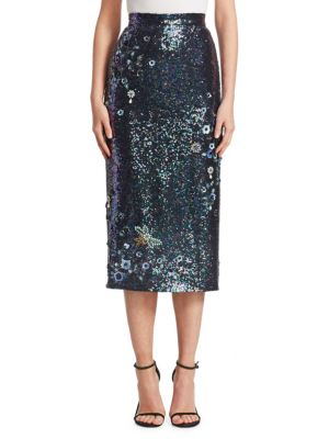 ERDEM Sacha Sequined Pencil Skirt in Blue