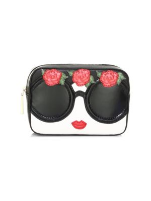 Alice And Olivia Ava Embellished Face & Flowers Travel Case