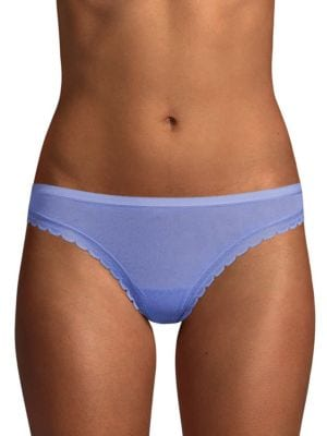 ONGOSSAMER Clothing Solid Lace-Trimmed Thongs