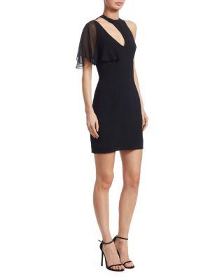 CUSHNIE ET OCHS Xandra Chiffon Sleeve Cutout Dress in Black