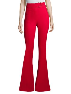 CUSHNIE ET OCHS High-Waist Flared-Leg Pants With D-Ring Buckle in Red