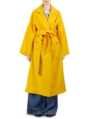 Oversized Belted Wool And Cashmere-Blend Coat in Orange