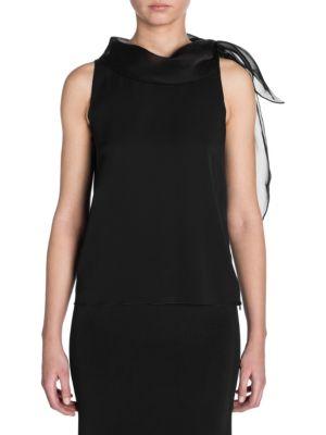 Sleeveless Silk Neck Tie Blouse by Giorgio Armani