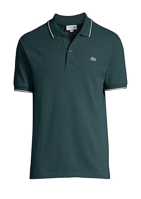 """Image of Striped trim elevates this iconic polo. Polo collar. Short sleeves. Two-button placket. Cotton/elastane. Dry clean. Imported. SIZE & FIT. About 27"""" from shoulder to hem."""
