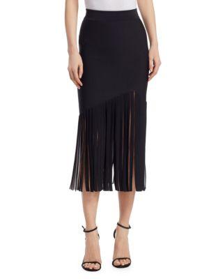 High-Waist Fitted Crepe Midi Skirt With Fringed Hem, Black White