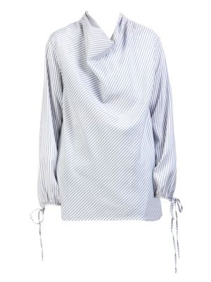 Long-Sleeve Cowl-Neck Pinstripe Silk Top in Blue