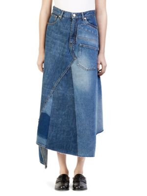 Asymmetric Patchwork Denim Midi Skirt, Blue Denim