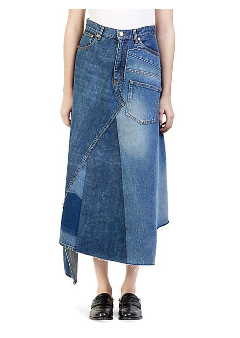 Image of Loewe's can be trusted to always be on trend, and this denim skirt is following the spring runways - denim skirts are back, and this particular one is effortlessly cool. Made in Italy from rich cotton, this chic denim skirt is constructed of re-purposed d