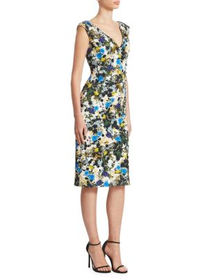 Jyoti Off-The-Shoulder V-Neck Meadow Floral Jacquard Sheath Dress in Blue
