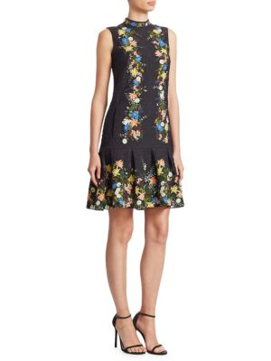 ERDEM Nena Band-Collar Sleeveless A-Line Floral-Jacquard Dress in Black