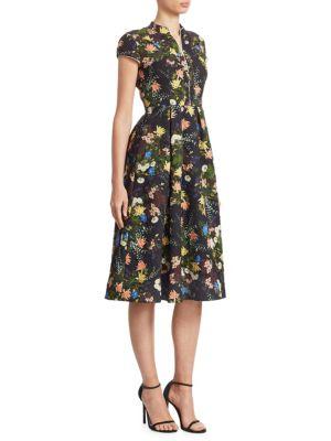 Henrietta Floral-Print Cloqué Midi Dress, Black Multi