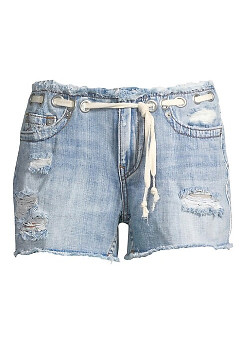 "Image of Distressed denim shorts with grommets and shoe lace belt on waist. Zip fly with concealed closure. Five-pocket style. Rise, about 8"".Inseam, about 3"".Leg opening, about 22"".Cotton. Dry clean. Imported. Model shown is 5'10"" (177cm) and wearing US size 4."