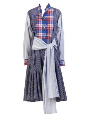Long-Sleeve Tie-Waist Check & Stripe Combo Shirtdress, Blue Red