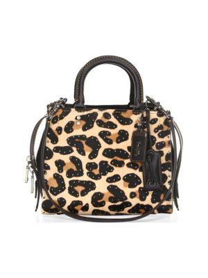 Leopard-Print Leather & Calf Hair Satchel, Multi