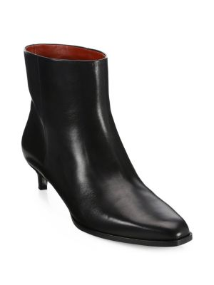 Agatha Leather Booties in Black