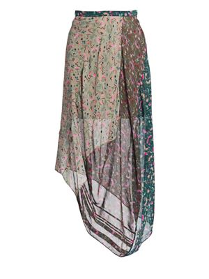 Garden-Print Asymmetric-Hem Mid-Calf Georgette Skirt in Green