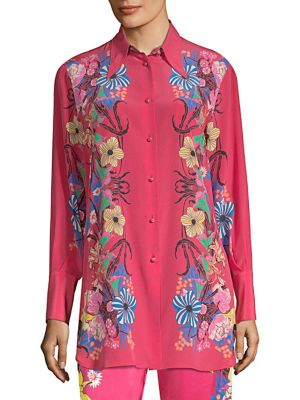 Tropical Floral-Print Silk Shirt in Pink