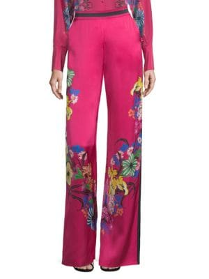High Waist Floral Print Wide-Leg Trousers in Pink