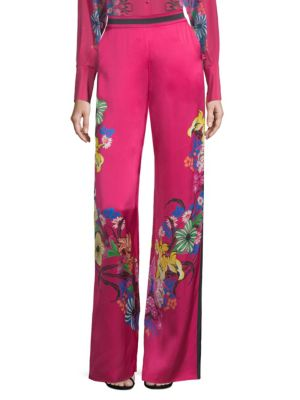ETRO High Waist Floral Print Wide-Leg Trousers in Pink